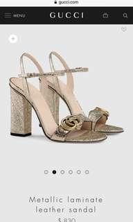 Gucci gold metallic sandal heels