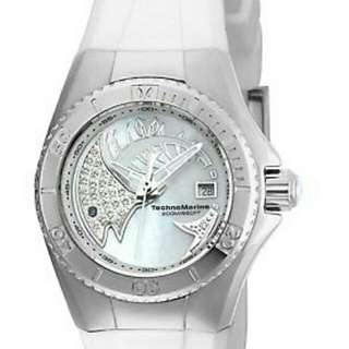 Free Ship TECHNOMARINE TM-115256 CRUISE DREAM SILVER WHITE SILICONE STRAP LADIES WOMENS WATCH