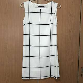 Ninth Collective white grid dress