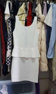 H&M Divided peplum formal white bodycon dress