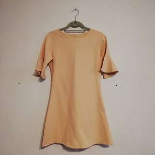 Zalora Tan Dress with Bell Sleeves