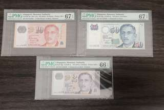 Set of Singapore Portrait$50,$10,2 Solid Ladder number 123456 Same Prefix EV with Rare 2 Star