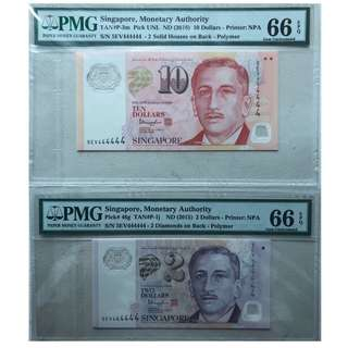 Singapore Portrait $10 and $2 solid 4 with special prefix and 2stars 5EV 444444