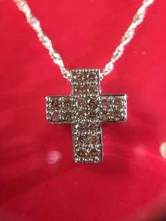 💒💠 18K 天然啡鑽石十字架頸錬 💠💒
