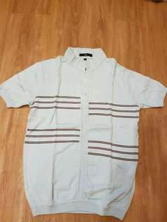Tyler Light Blue with brown stripes knitted collared shirt