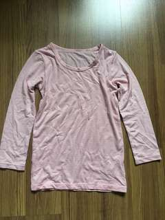 Uniqlo Baby Heattech long sleeve pink striped top