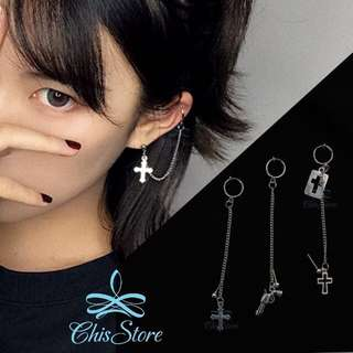 🚚 Chis Store【十字架鍊條垂墜耳環】個性 暗黑 手槍造型 無耳洞耳環 夾式耳環 耳夾 耳骨夾 純銀耳環 ML074