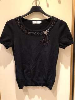 🚚 珠鑽黑色線衫
