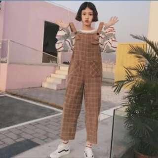 兩色 超可愛格子吊帶褲 背帶褲
