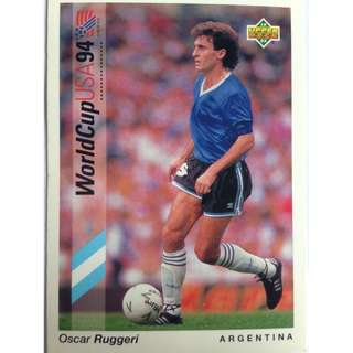 Oscar Ruggeri (Argentina) - Soccer Football Card #1 - 1993 Upper Deck World Cup USA '94 Preview Contenders