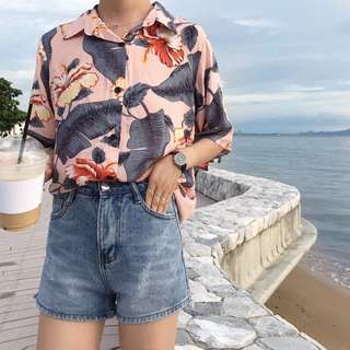 BNWT pink tropical palm leaves button up shirt tee top basic essential summer