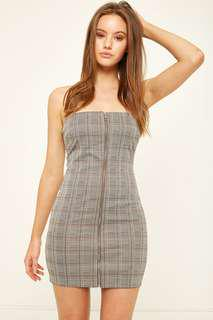 L&T Check Front Zip Dress - grey