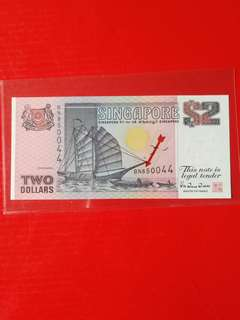 Singapore $2 replacement ship TDLR print.prefix BN scarce.gem UNC