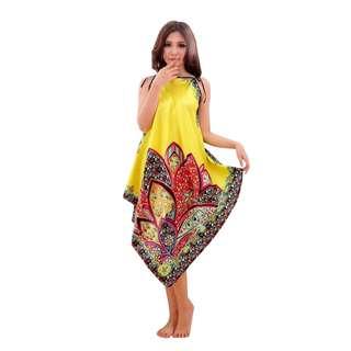 Sexy Woman Floral Flower Lingerie Long Nightwear Dark Pink & Yellow FF53
