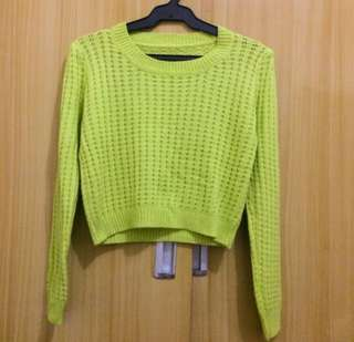 knitted neon pullover top