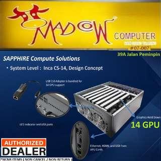 Sapphire Dual Rx 470 (4GBx2) x 7pcs, Inca CS-14 Computer Mining System..,   Total 14 GPUs.