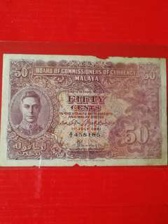 Malaya 1941 50 cents A/1 4581850 vf edge tone but still crispy