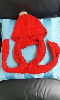 紅色冷帽連頸巾