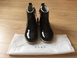 全新Zara 黑色漆皮童靴