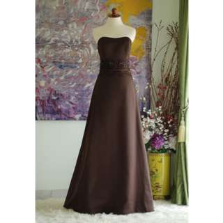 Elegant Couture Dark Brown Strapless A-line Gown #freepostage