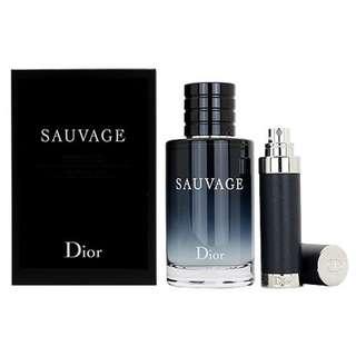 Christian Dior Sauvage 2 PCS Travel Set for Men (100ml EDT + 7.5m Travel Spray)