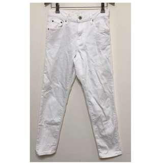 Uniqlo slim boyfriend 九分牛仔褲白色男友褲-22號