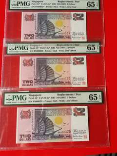 Singapore $2 ship replacement star notes.printed.by H&S, in 3 consec runs of PMG.65EPQ. LOW sn