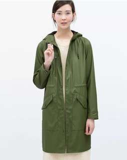 zara green parka coat