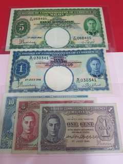 1941-malaya $5-$1-(1cent-5cent-10cent.)-5pcs set.all original Gef++