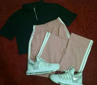 Bundle! Penshoppe crop top & old rose track pants