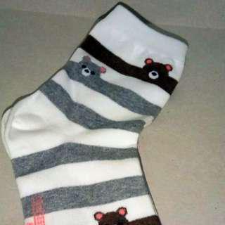 Korean Socks - Striped Bears