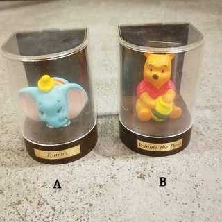 日本 迪士尼 三菱銀行櫥窗公仔小飛象小熊維尼玩具盒子裝飾絕版收藏可愛軟膠 dumbo Winnie the pooh