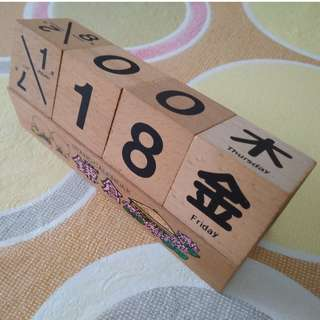 Perpetual Calender Japan Wooden Block can be used forever!