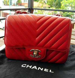 Chanel Caviar Mini Flap Chevron Red