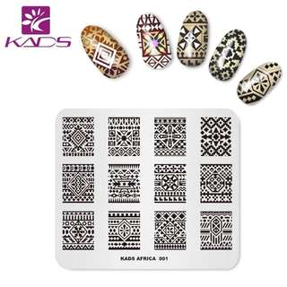 KADS New Arrival Africa 001 Design Colorful Stripe Pattern Templates DIY Image Stencil Beauty Tools Nail Art Stamp Plate