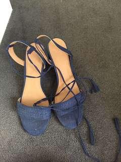 Low heel blue lace up heels