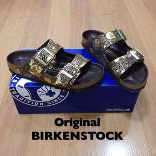 New:Birkenstock brown and gold sandals