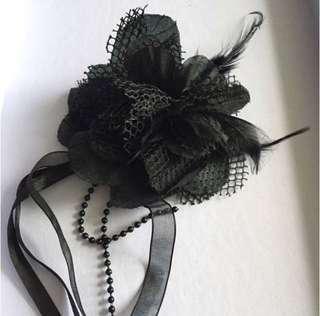 黑色 網布 羽毛 絲帶 襟花 宴會 扣鏈裝飾飾物