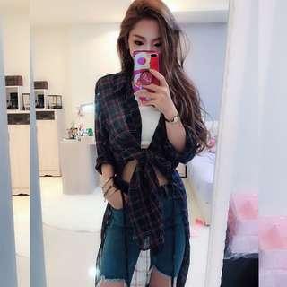 夏裝2018新款韓版格子長袖襯衣系帶高開叉中長款開衫防曬衣外套女