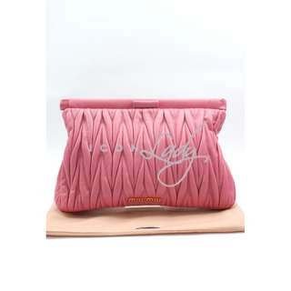 (Sale Promotion) MIU MIU 5N1573 GERANIO Matelasse 粉紅色小羊皮皺褶 晚宴袋 手提袋