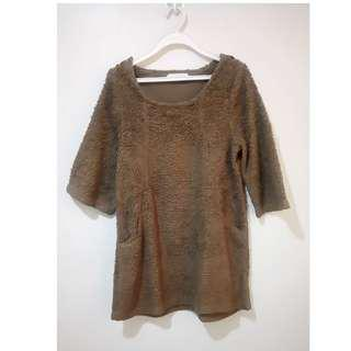 Basic Tone clothes furry brown XL dress