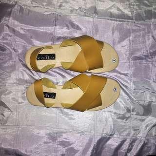 Cris cross mustard sandals