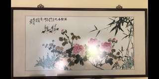 Chinese Painting with Frame (Bird and flower)