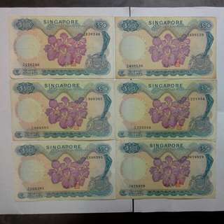 6 Singapore $50 Orchid Series Notes