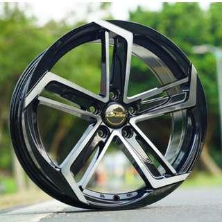 蕭條月6月限定促銷 17吋雅泛迪&時尚最新款鋁圈 搭配馬牌 215/45/17 高性能跑胎 MC6 圈胎一組級品優惠價