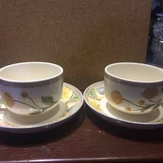 Wedgwood Garden Maze 1996 Breakfast Cup & Saucer Set Yellow Flower