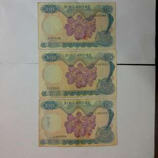 3 Singapore $50 Orchid Notes