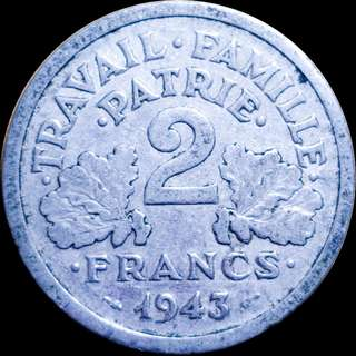 🚚 2 Francs Vichy French State 1943 B WWII
