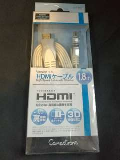 HDMI v1.4 cable 扁線, 1.8m, 6 feet, flat style, brand new, support 3D