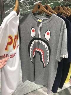 Bape Shark Ponr Tee Grey